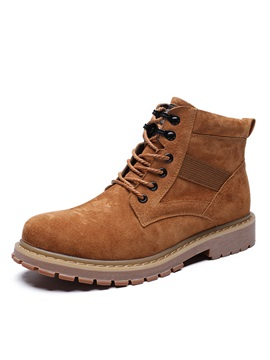 Plain Round Toe Lace-Up Men's Work Boots