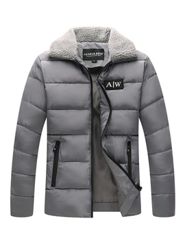 Plain Lapel Zipper Men's Warm Down Jacket