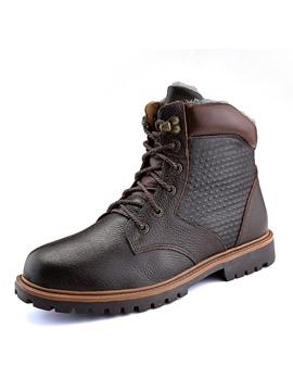 Round Toe Plain Lace-Up Front Men's Martin Boots