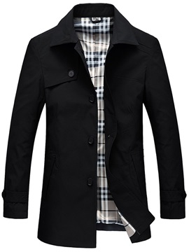 Plain Lapel Single-Breasted Men's Jacket