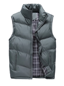 Plain Thick Stand Collar Zipper Men's Winter Vest