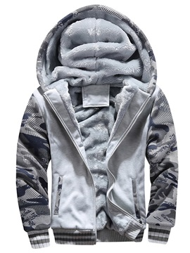 Camo Patchwork Fleece Zipper Men's Casual Hoodie