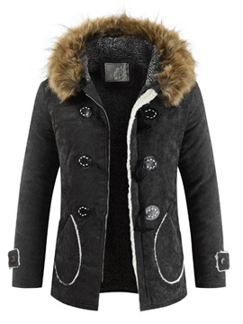 Fur Hooded Zipper Plain Men's Down Coat