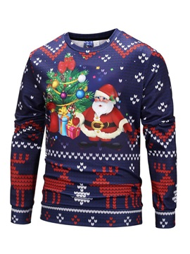 Round Neck Christmas Style Men's Pullover Hoodie