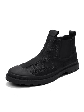 Round Toe Patchwork Elastic Men's Casual Boots