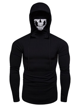 Hooded Print Skull Halloween Men's T-shirt