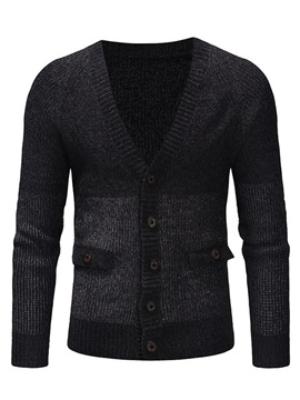 Color Block Single-Breasted Men's Cardigan Sweater