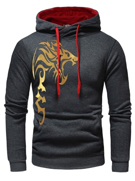 Hooded Unique Print Pocket Men's Pullover Hoodie