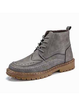 Plain Round Toe Lace-Up Front Men's Winter Boots