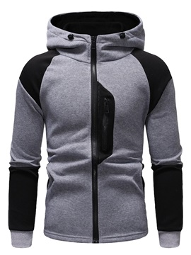 Cardigan Zipper Patchwork Men's Casual Hoodie