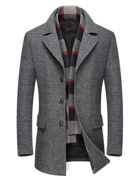 Color Block Notched Lapel Casual Men's Coat