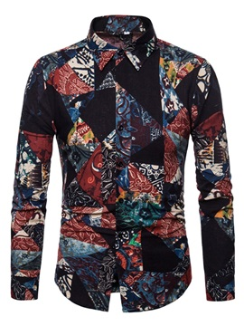 Color Block Patchwork Men's Casual Shirt