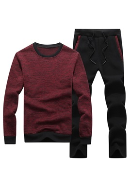 Pullover Hoodie Pants Color Block Men's Sports Suit
