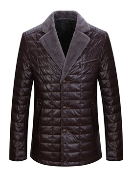 Notched Lapel Single-Breasted Men's Leather Jacket