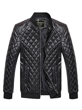 Plain Stand Collar Fashion Men's Leather Jacket