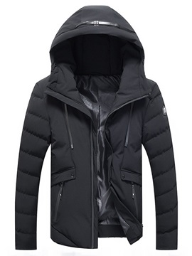 Hooded Warm Plain Men's Down Jacket