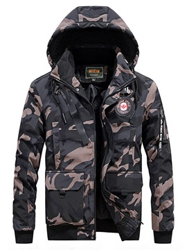 Camouflage Print Hooded Zipper Men's Down Jacket