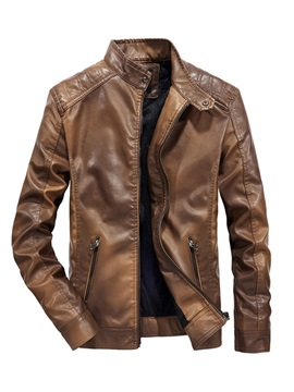 Plain Stand Collar Slim Men's Leather Jacket