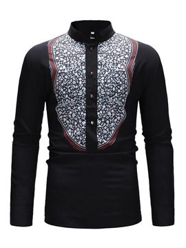 Floral Print Dashiki Stand Collar Men's Shirt