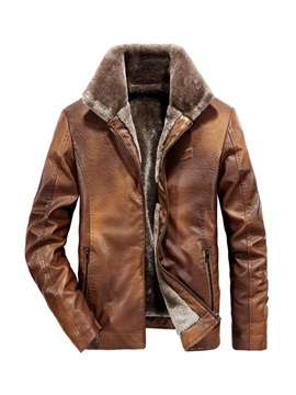 Lapel Fleece Plain Winter Men's Leather Jacket