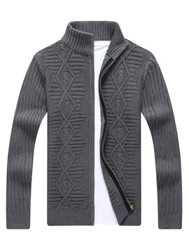 Plain Stand Collar Zipper Men's Cardigan Sweater