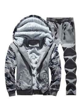 Camouflage Patchwork Jacket Pants Winter Men's Sports Suit