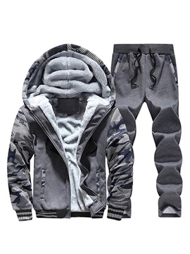 Casual Color Block Camo Print Men's Winter Sports Suit