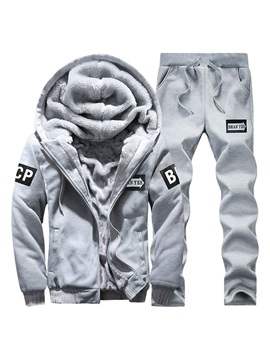 Letter Print Jacket Pants Winter Men's Sports Suit