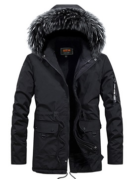 Winter Hooded Plain Casual Men's Down Coat