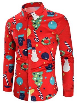 Christmas Cartoon Print Men's Shirt