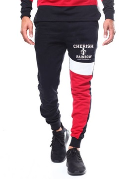 Letter Patchwork Color Block Men's Casual Pants