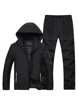 Windproof Plain Warm Jacket Pants Casual Men's Sports Suit