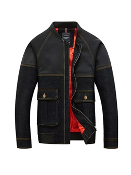 Stand Collar Color Block Patchwork Men's Jacket