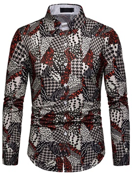 Geometric Print Lapel Men's Shirt