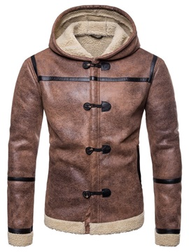 Hooded Warm Zipper Button Men's Leather Jacket