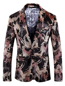 Unique Print Notched Lapel Men's Blazer