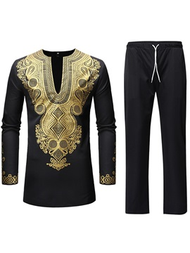 Dshiki African Ethnic Style Shirt Pants Men's Suit