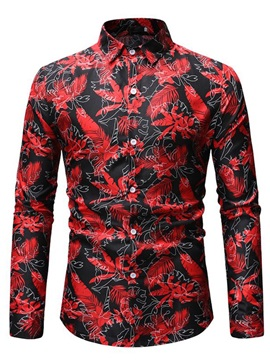 Floral Print Casual Lapel Men's Shirt