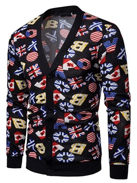 Fashion Print V-Neck Single-Breasted Men's Cardigan Sweater