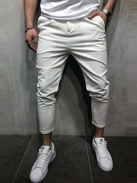 Plain Pocket Slim Fit Men's Casual Pants