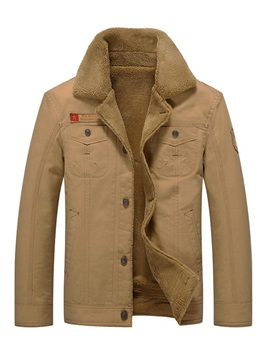 Plain Lapel Single-Breasted Men's Warm Jacket