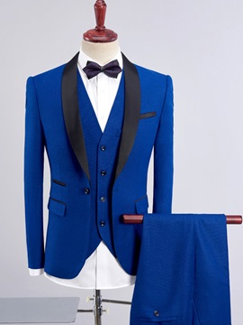 Blazer Vest Pants Plain Men's Dress Suit