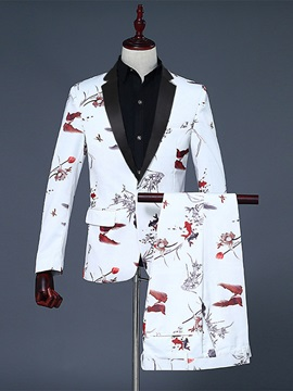 Floral Print Blazer Pants One Button Men's Dress Suit