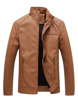 Stand Collar Plain Zipper Slim Men's Leather Jacket
