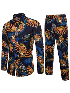 Floral Print Shirt Pants Men's Casual Suit