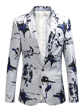 One Button Floral Print Men's Blazer