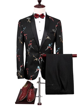 Print One Button Blazer Pants Men's Dress Suit