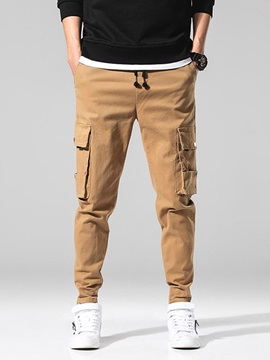 Pocket Plain Lace-Up Men's Casual Pants