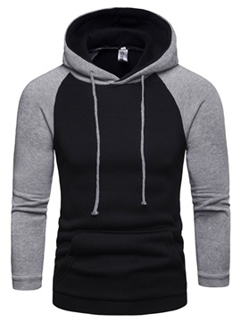 Color Block Patchwork Hooded Men's Pullover Hoodie