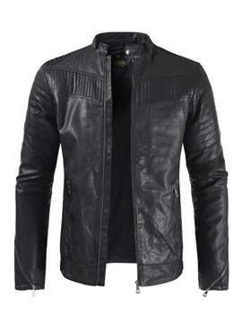 Stand Collar Zipper Plain Men's Leather Jacket